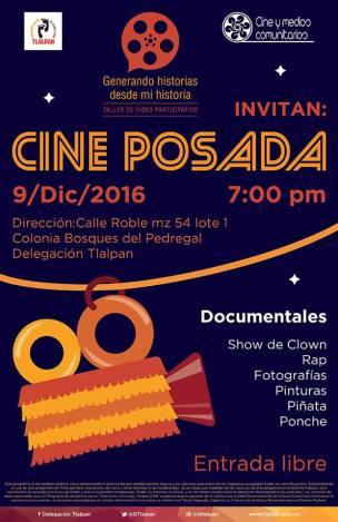 """Cartel """"Cine posada"""", presentación de documentales participativos en Bosques de Pedregal, CDMX."""