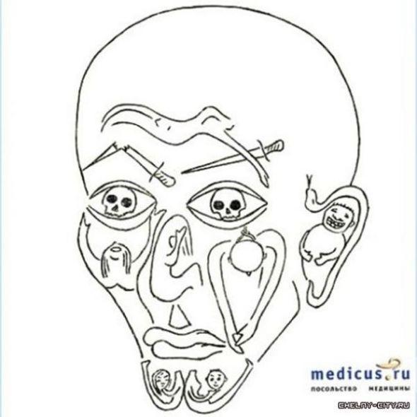 Un rostro hecho con figuras humanas