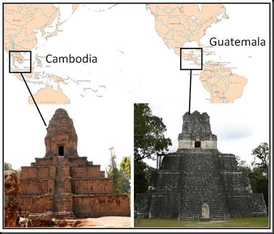 Pirámide de Camboya y de Guatemala