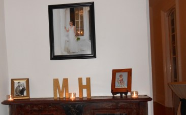 the wedding coordinator hung hanna's bridal portrait (done in April) when the reception was taking place
