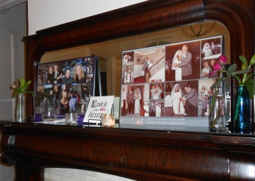 two very special collages; calvo pix and hanna/grandpa ralph pix on another mantle in venue