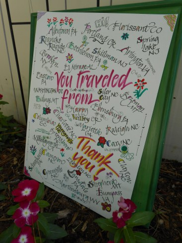 i wanted a way to acknowledge everyone who came, whether they flew or drove, far or close