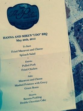 special menu for rehearsal dinner (thank you again karen calvo!)