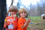 """""""We're like twins, because we have blue eyes and blonde hair and we're wearing orange shirts and blue pants and blue shoes."""""""