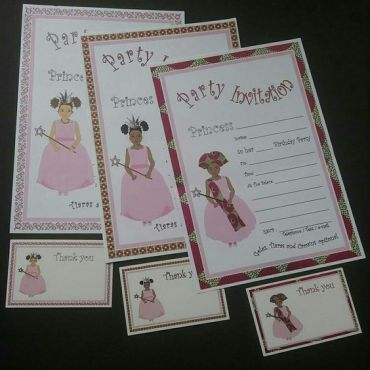Afrocentric princess birthday invitations and thank you cards - African inspired dark skinned, light skinned/mixed race - pack of 10