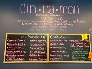 Cinnamon Cafe specialty coffees