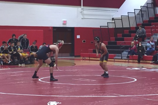wrestling five pins, division foe pemberton, rancocas valley, versus delran