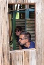 Sandra and David testing the empty toilet house we found on the island, haha