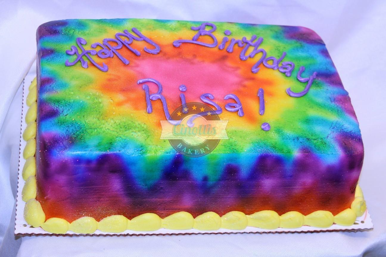 Tiedye Birthday Cake Fell The Love From Cinotti S Bakery