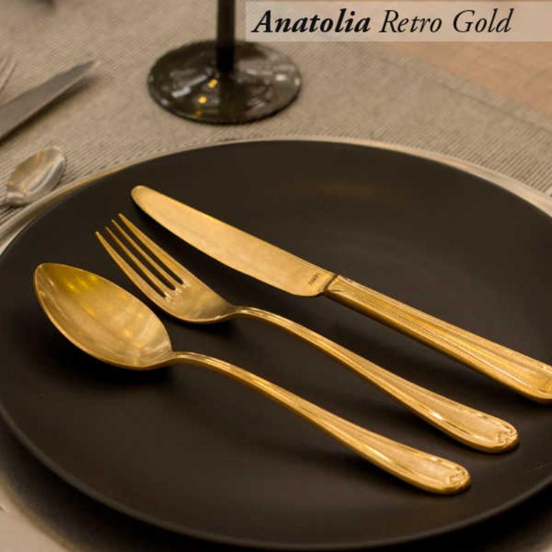 Anatolia Retro Gold Çatal Kaşık Bıçak