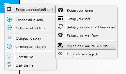 PickaForm - Settings - Import XLS or CSV - EN
