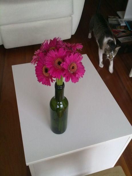 Arranjo de gérbera pink em garrafa verde de vinho