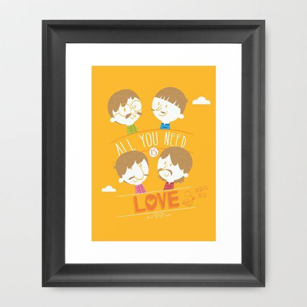 """Decoração com ilustração em quadro: The Beatles """"All you need is love"""" de Ariel Fajtlowicz."""