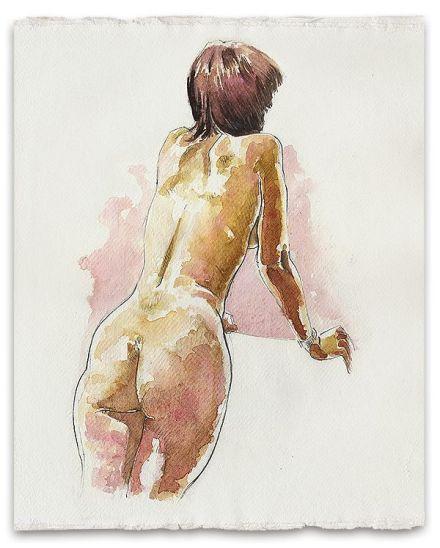 Aquarela de Simon Goss retrata mulher nua.