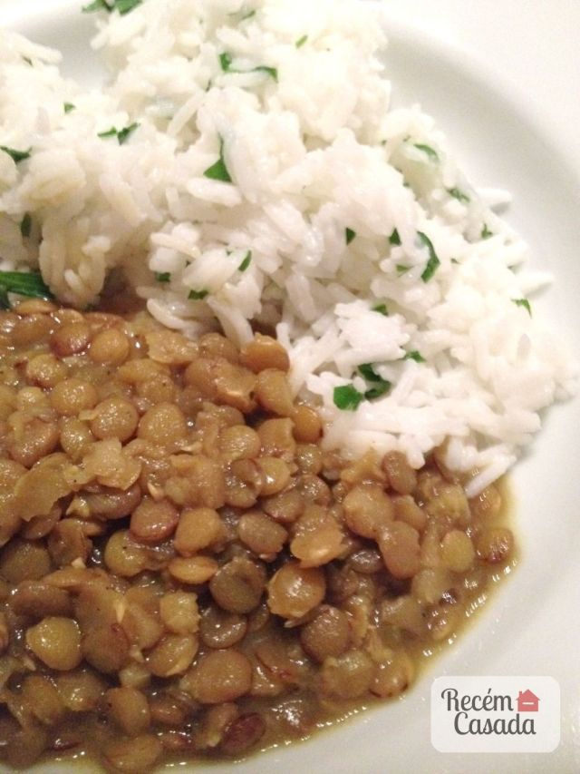 Receita de lentilha ao curry com arroz basmati do site www.cintiacosta.com