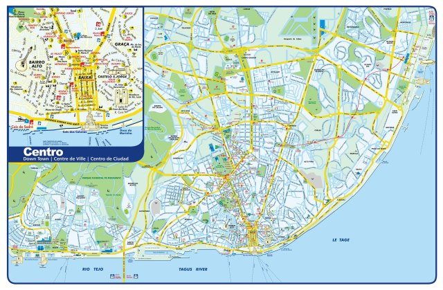 Mapa dos bairros de Lisboa, Portugal.