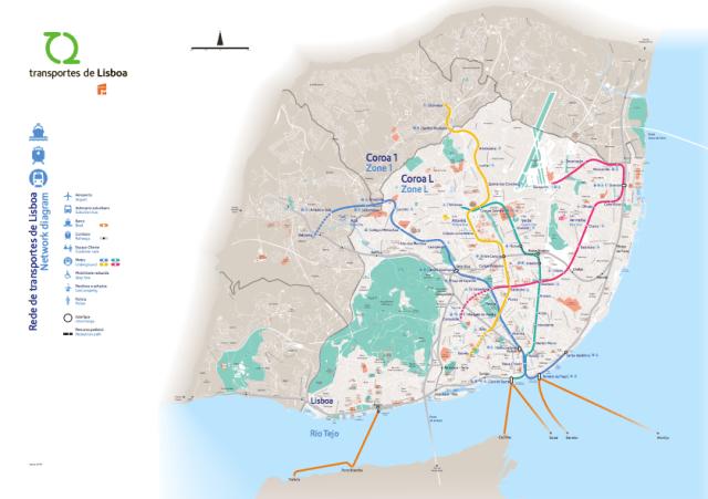 Mapa do transporte público de Lisboa, Portugal.