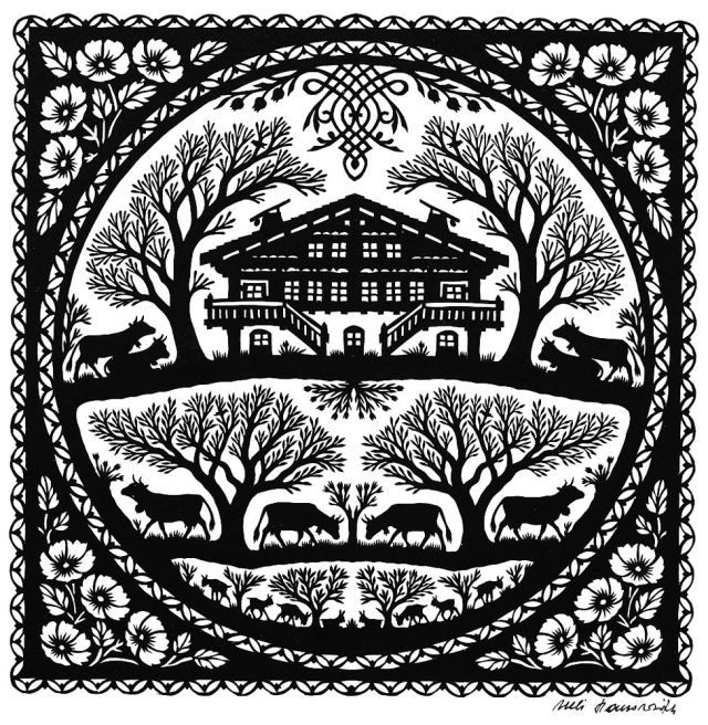 Découpage: artesanato suíço de papel recortado com paisagens e cenas da vida alpina. Feito pelo artesão Ueli Hauswirth.