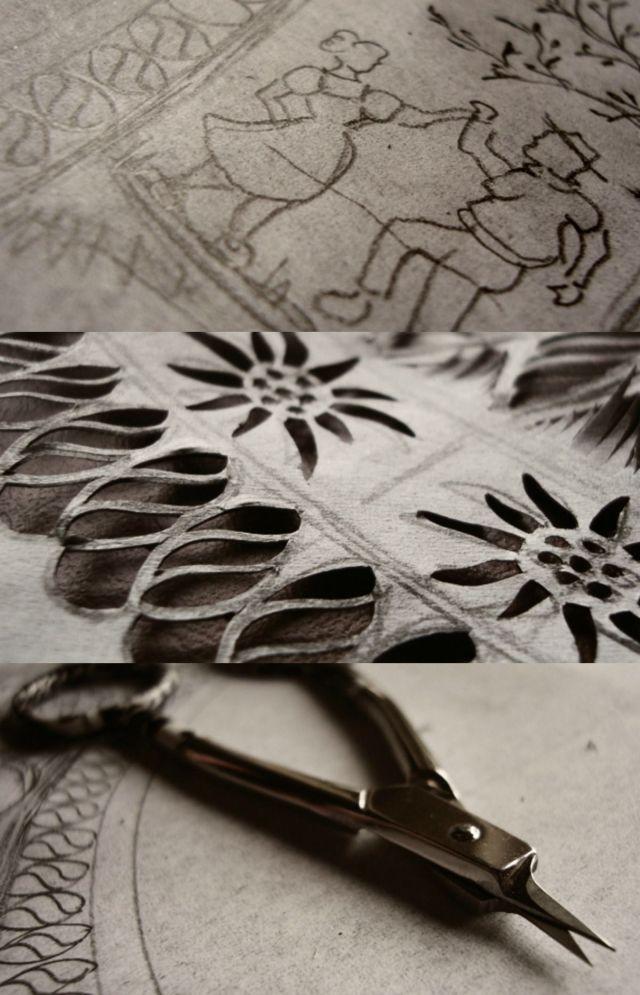 Técnica da découpage: como se faz artesanato suíço de papel recortado. Desenho, pintura e recorte com tesoura. Fotos: artesão Esther Gerber.