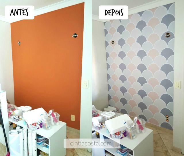 Antes e depois de papel de parede adesivo. Foto: www.cintiacosta.com