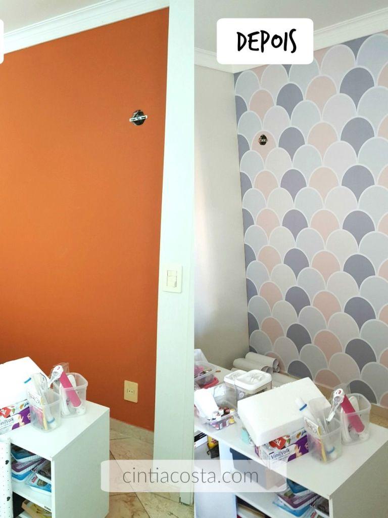 Decoração DIY: antes e depois com papel de parede rosa e cinza