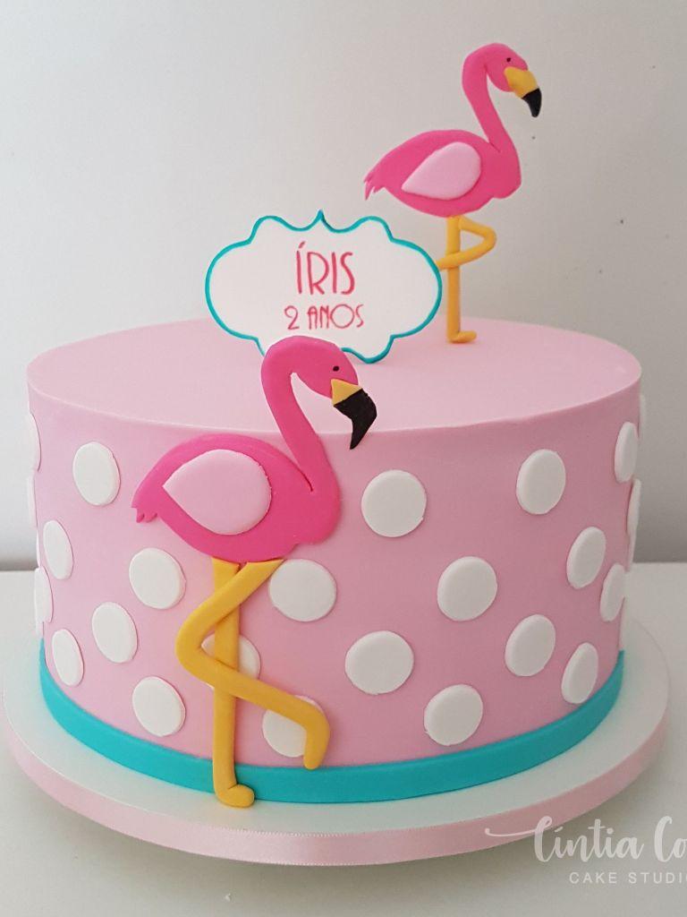 Bolo Flamingo para festa de menina