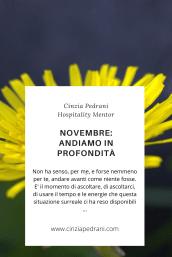 Novembre, andiamo in profondità. Cinzia pedrani, Hospitality mentor