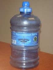 A bottle made from polycarbonate