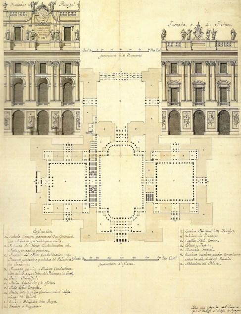 Filippo Juvarra. Planta del proyecto de Palacio Real y detalle de la fachada principal y fachada a los jardines.