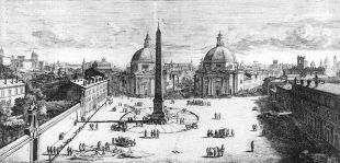 Caspar van Wittel. Vista de la Piazza del Popolo de Roma. ca. 1678