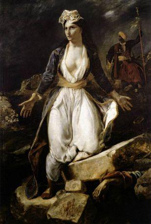 Delacroix. Grecia expirando sobre las ruinas de Missolonghi. 1826. Museo de Bellas Artes de Burdeos.