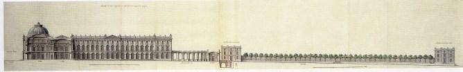 Alzado lateral del primer proyecto del Palacio Real en el Buen Retiro de Robert de Cotte