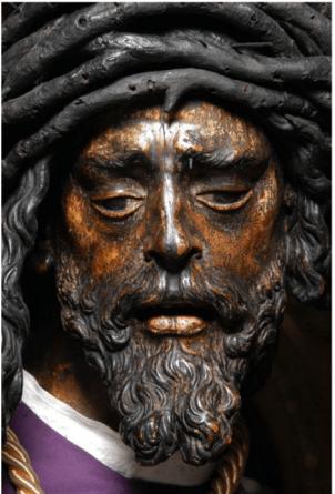 Juan de Mesa. Jesús del Gran Poder. 1620. Detalle del rostro antes de la restauración. foto: IAPH