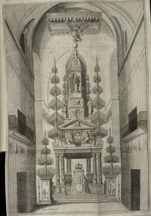 Juan Gómez de Mora (traza) y Juan de Noort (grab.) Catafalco de Isabel de Borbón en la iglesia de los Jerónimos.