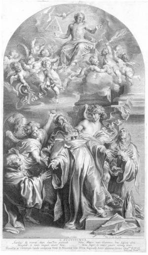 Triunfo de San Agustín. Estampa basada en diseño de Antón van Dyck.