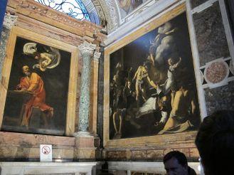 Caravaggio. Detalle del San Mateo y el Ángel y El Martirio de San Mateo. Foto: wikicommons
