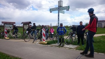 Approaching the well-frequented cycle path along the Elbe river.