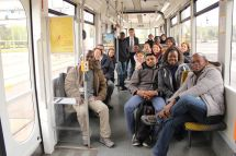 Group photo in a tram of DVB.