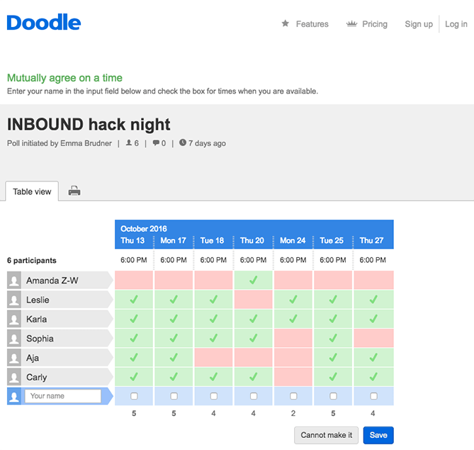 doodle scheduler interface that allows teams to show availability