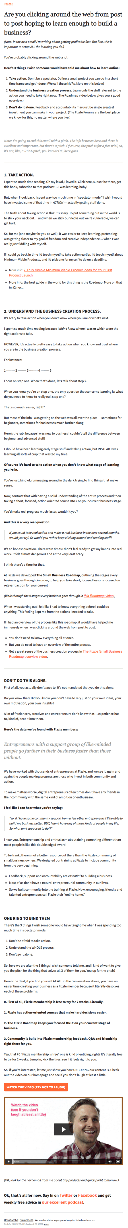 Email Newsletter Example: Fizzle
