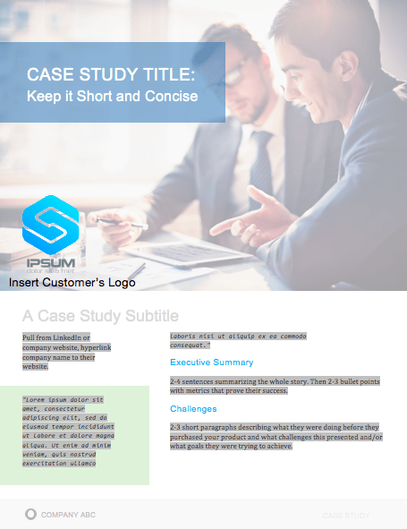 case study template: cover page example