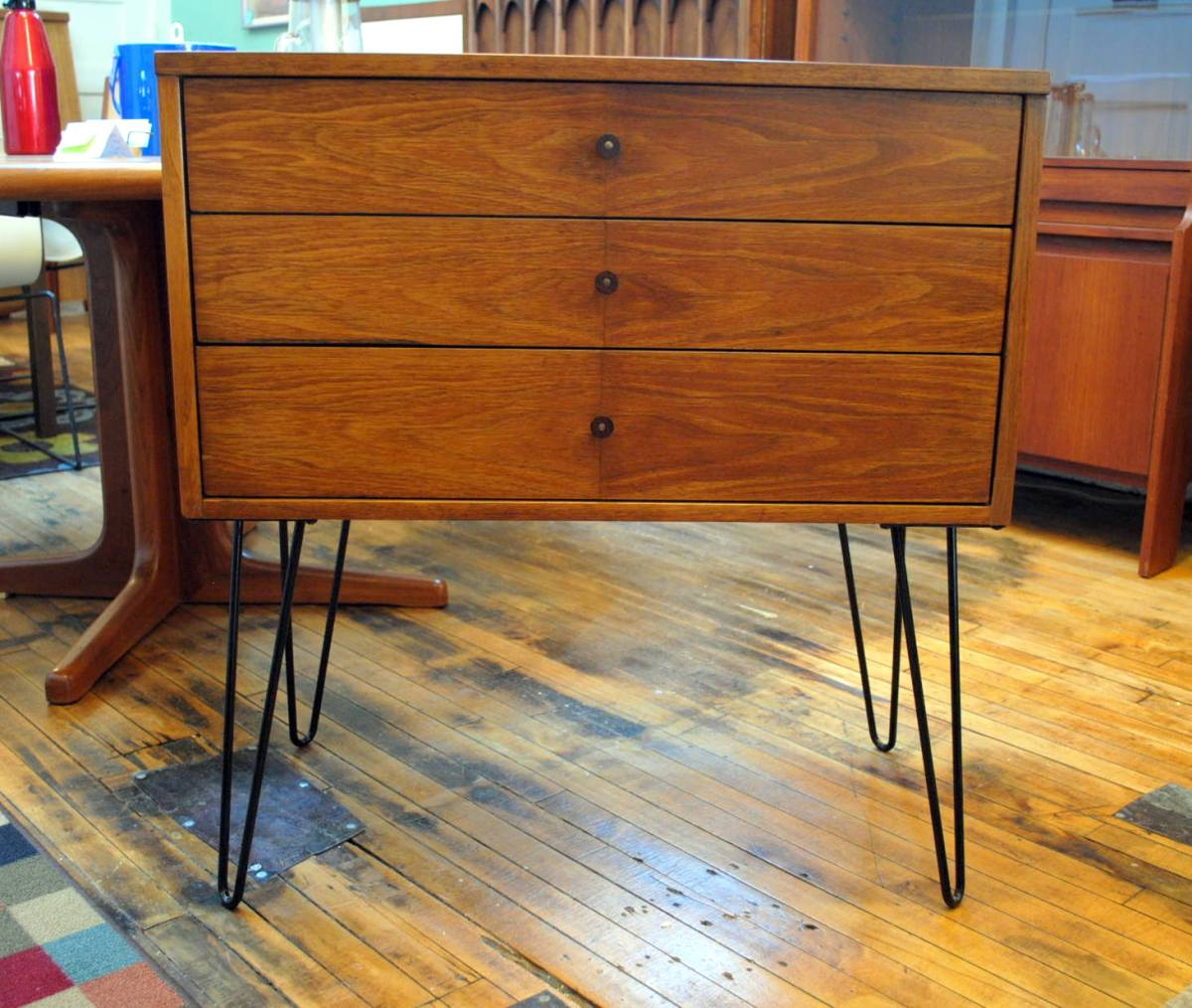 Mid Century 3 Drawer Chest On Hairpin Legs Circa