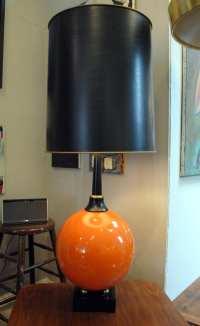Mid Century Modern Orange Table Lamp | Circa