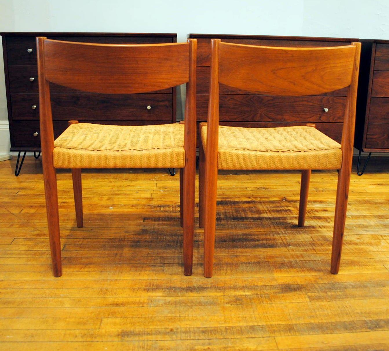 Pair Of 2 Danish Teak Dining Chairs Circa