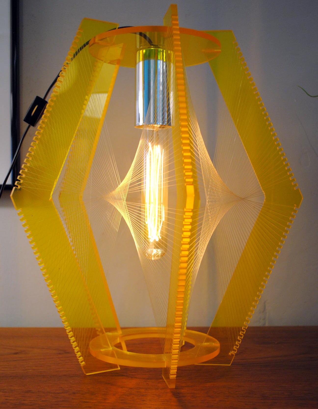 Mid Century Lucite String Art Swag Lamp