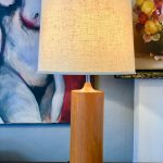 Danish Modern Teak Cylinder Table Lamp Circa
