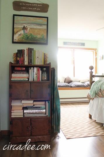 antique radio bookshelf