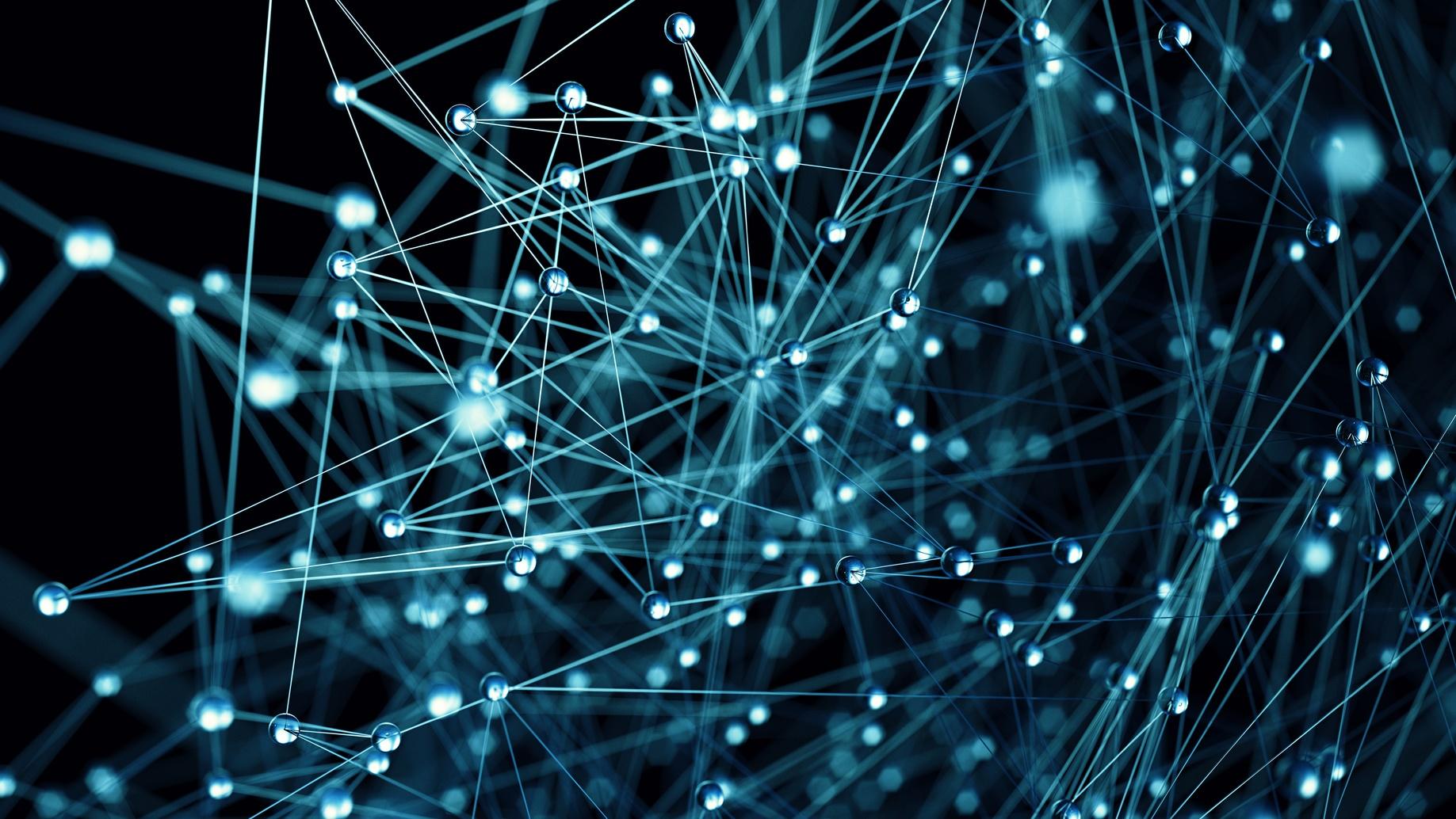Molecular structure illustration close up blue background