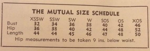 1930s sizing chart