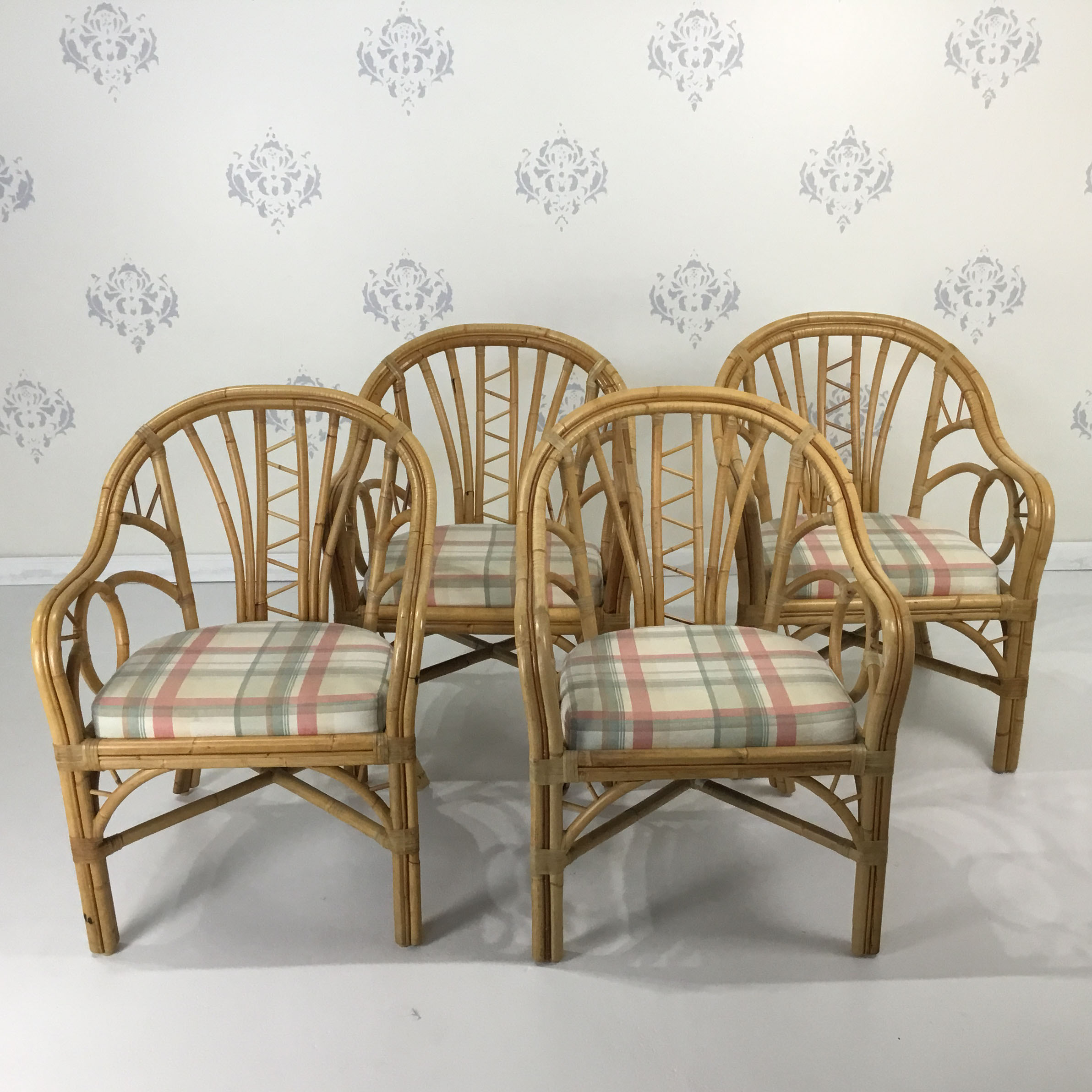Bamboo Chairs Set Of 4 Rattan Bamboo Chairs
